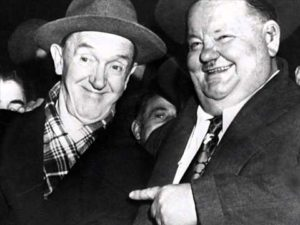 Older Stan Laurel and Oliver Hardy, on their European tour