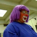 A new character for Ellen - Goofy Grape, a new auguste that worked her way to the surface. Note the professional clown make up, designed by Jim Howle