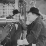 Forgotten Laurel and Hardy film clip found - clowning around with a telescope