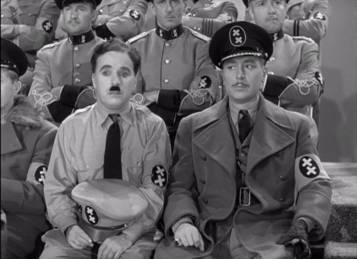 Charlie Chaplin as the Jewish barber, who nervously impersonates The Great Dictator