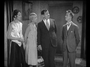 Mae Busch, Thelma Todd, Oliver Hardy, Stan Laurel in Unaccustomed As We Are