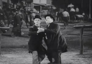 Stan and Ollie dancing in Way Out West
