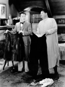 In Bonnie Scotland, Stan Laurel destroys Oliveer Hardy's only pair of pants