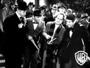 Curly Howard, Moe Howard, Larry Fine as autograph hunters in Hollywood Party