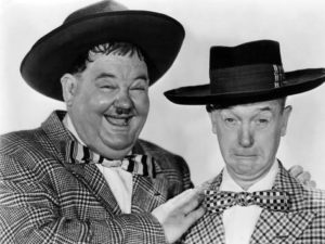 Oliver Hardy and Stan Laurel in their zoot suits in Jitterbugs