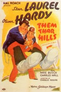 Them Thar Hills movie poster - Oliver Hardy riding piggy back style on Oliver Hardy