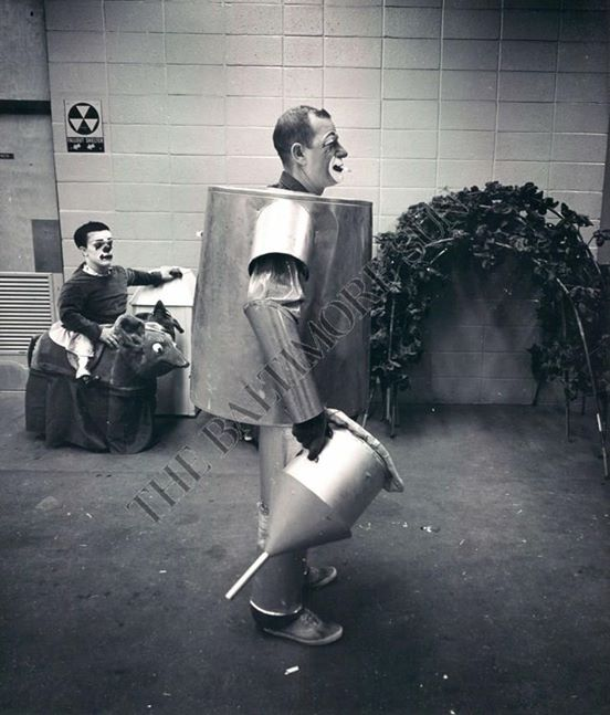 Coco as the Tin Man, in the Ringling Brothers circus in the 1960s with Jack Cooper in the background