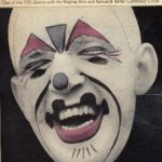 Face of Frankie Saluto in white face clown makeup