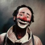 Paul Jerome as a white face clown