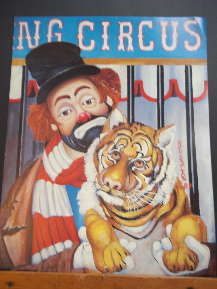"Red Skelton painting of Freddie the Freeloader, titled ""Hold that Tiger"""