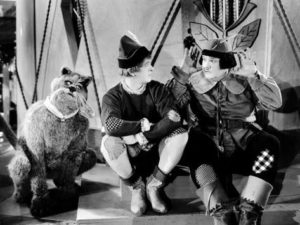 Stan Laurel and Oliver Hardy in March of the Wooden Soldiers, also known as Babes in Toyland