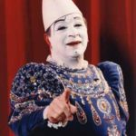 Francesco Caroli, famous European whiteface circus clown, in costume