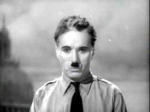 Charlie Chaplin giving the Look Up, Hannah speech at the conclusion of The Great Dictator