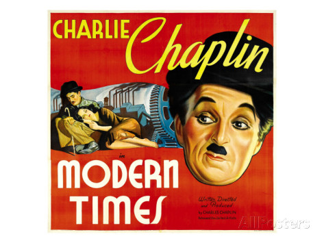 An 11″x17″ poster of Modern Times starring Charlie Chaplin and Paulette Goddard. A painting, with the classic pose of Chaplin and Goddard, as well as emphasizing Charlie Chaplin's face.