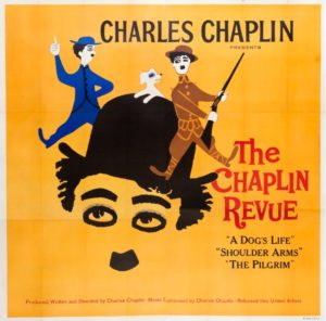 Art poster of Charlie Chaplin's The Chaplin Revue, a composition of A Dog's Life, Shoulder Arms and The Pilgrim.