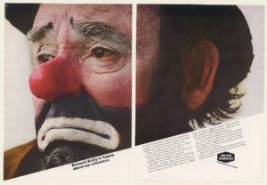 Color photo of Emmett Kelly's face as Weary Willie