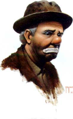 Emmett Kelly as Weary Willie, painting by Jim Howle