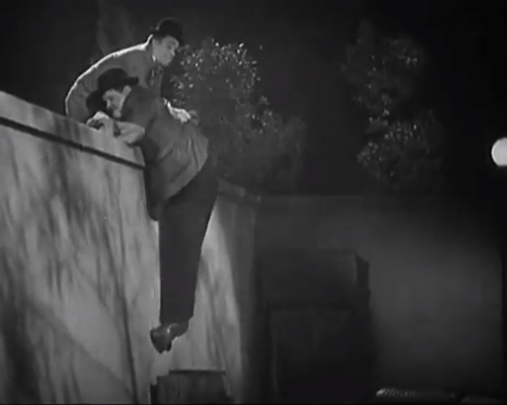 Night Owls - Stan Laurel and Oliver Hardy try to sneak over the wall onto the Chief's property