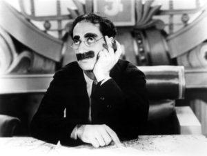 Groucho Marx as the president of Freedonia in Duck Soup