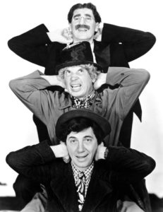 Vertical publicity photo of the Marx Brothers in At the Circus - Groucho, Harpo, Chico