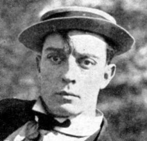 Portrait of Buster Keaton, the great stone face, in his trademark hat