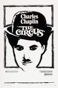 The Circus, Charlie Chaplin, 1928 - black and white poster, focusing on Charlie the little tramp's face