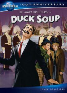 Duck Soup, starring Groucho Marx, Chico Marx, Harpo Marx, Zeppo Marx, Margaret Dumont