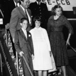 Red Skelton, actor, United Kingdom, with family. 1957-07-10 at Kastrup Airport CPH, Copenhagen.
