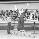 Black and white photo of Bozo's Grand Prize Game