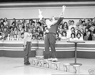 Black and white photo of Bozo's Grand Prize Game