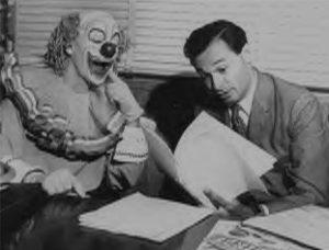 Bozo (Pinto Colvig) and Alan Livingston at Capitol Records