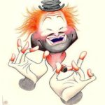 Caricature of ICHOF Inductee Red Skelton, as his famous hobo clown, Freddy the Freeloader (Art by Dave Woodman)