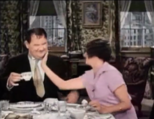 Oliver Hardy and Mae Busch in Their First Mistake