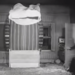 They Go Boom! over inflated air mattress with Stan and Ollie stuck on top