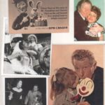Danny Kaye original clipping magazine photo image from the Rankin-Bass childrens special, Here Comes Peter Cottontail, center left an image from the most heart-breaking moment in Hans Christian Andersen, at the bottom left of singer Anita Ellis, Red Skelton, and Danny Kaye, and bottom right a photo of a child sharing her clown lollipop with Danny Kaye or is it the other way around?