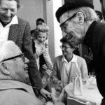 Three elderly clowns - Danny Kaye, Charlie Chaplin, and Groucho Marx
