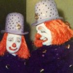 Amelia Adler and Felix Adler as clown cops