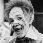 Face shot of Paul Wenzel, famous white face clown