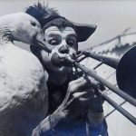 Paul Wenzel and goose playing the trombone