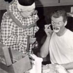 Otto Griebling in whiteface with Dalton Dearborn at clown camp 1968