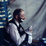 Buster Keaton in tramp clown makeup