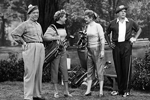 """Fred and Ethel Mertz, Lucy and Ricky Ricardo, on the green in the I Love Lucy episode, """"The Golf Game"""""""