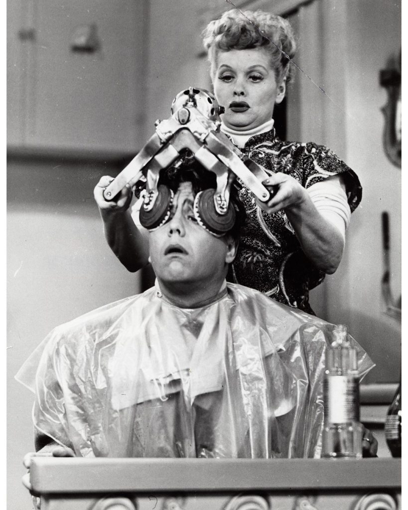 """One of Desi Arnaz' funny moment - when he thinks he's losing his hair, Lucy """"helps' him with a hair treatment!"""
