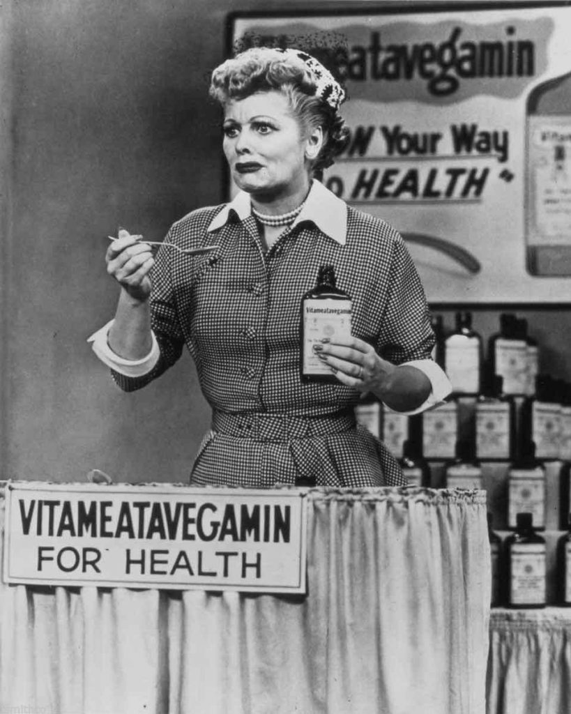 """An actual scene from the famous """"Lucy Does a Television Commercial"""" - I love the look on Lucy's face as she swallows the Vitameatavegamin - """"... and it's so tasty, too!"""""""