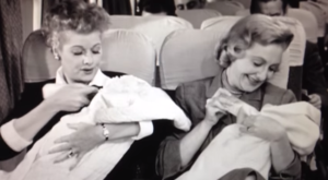 Return from Europe - I Love Lucy - Lucille Ball and Mary Craft nursing their 'babies'