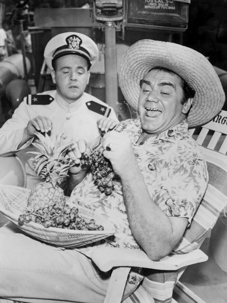 Ensign Parker (Tim Conway) and Commander McHale in the TV series McHale's Navy (1962)