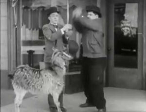 Stan Laurel makes the mistake of feeding a doughnut to a goat