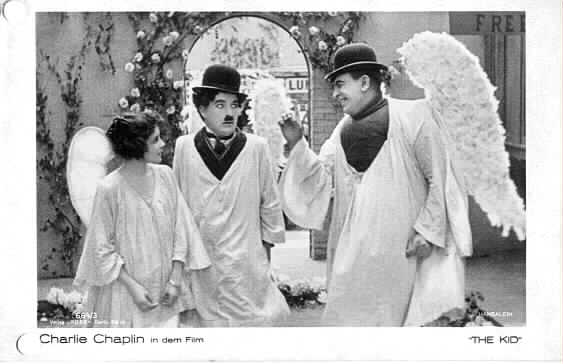 Charlie Chaplin in the dream sequence from The Kid