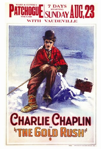 Art poster of Charlie Chaplin in The Gold Rush - Charlie Chaplin sitting on a snowbank