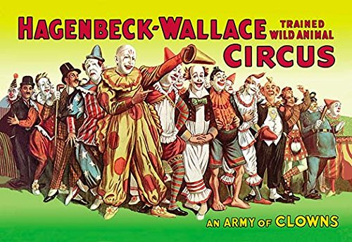 Hagenbeck-Wallace circus poster, with a wide variety of clowns
